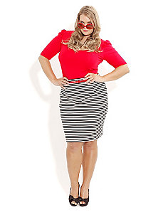 Stripe Pencil Skirt with Belt by City Chic
