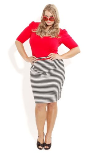Stripe Pencil Skirt with Belt