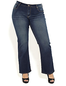 Washed Up Boot Leg Jeans by City Chic