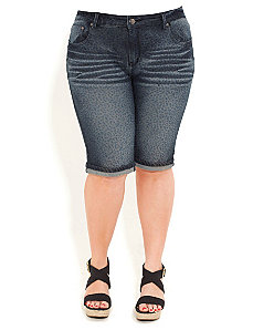 Denim Roar Knee Shorts by City Chic