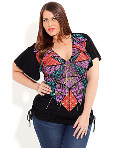 Sequin Inca Graffiti Top by City Chic