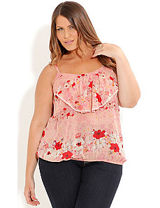 Lace Trim Floral Top by City Chic