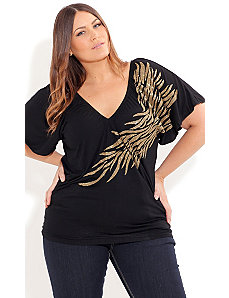 Gold Shimmer Flame Top by City Chic