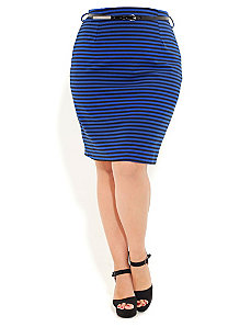 Stripe Ponte Pencil Skirt by City Chic