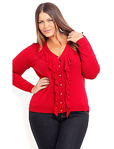 V Neck Ruffle Cardigan by City Chic