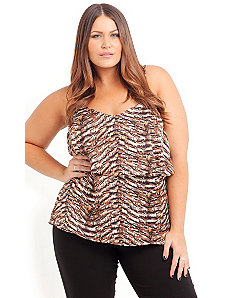 Gold Strappy Animal Top by City Chic