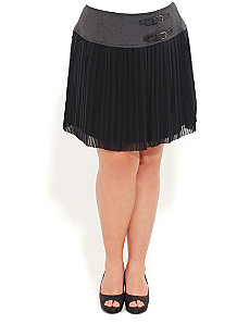 Buckle Waist Pleated Skirt by City Chic