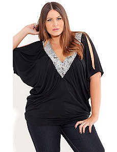 Bead Neck Flutter Top by City Chic
