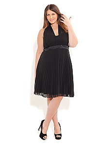 Halter Angel Pleated Dress by City Chic