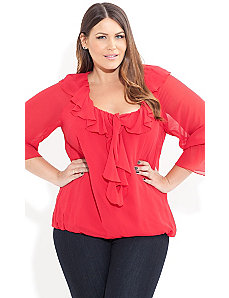 Senorita Super Ruffle Top by City Chic