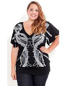 Mirror Chains Graffiti Top by City Chic