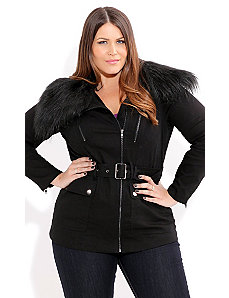 Fur Quilted Jacket by City Chic