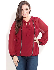 Ribbon Trim Shimmer Top by City Chic