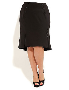 Button Pleat Skirt by City Chic