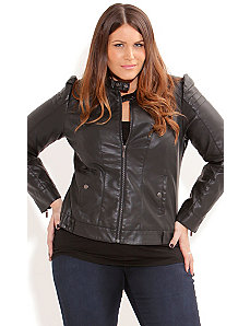 Vinyl Gladiator Jacket by City Chic