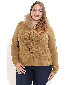 Caramel Fur Dream Cardigan by City Chic