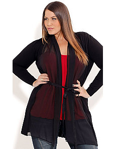 Chiffon Trim Drape Cardigan by City Chic
