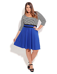 Stripe Bust Skater Dress by City Chic