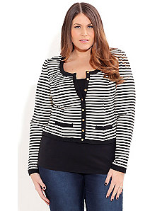 Stripe Ponte Jacket by City Chic
