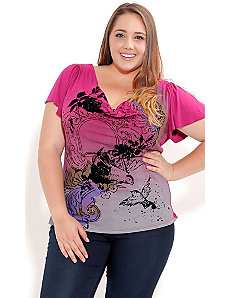Bird Of Paradise Graffiti Top by City Chic