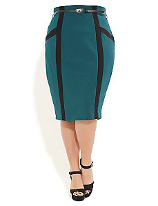 Spliced Panel Pencil Skirt by City Chic