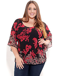 Floral Boarder Top by City Chic