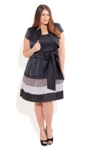 Stripe Block Dress With Jacket