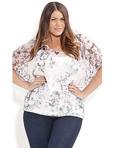 Crushed Cream Print Top by City Chic