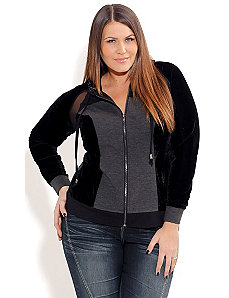 Spliced Velour Hoodie by City Chic