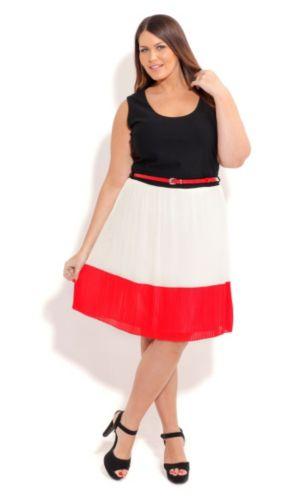 Pleat Contrast Dress