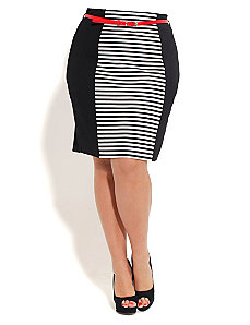 Stripe Panel Skirt With Belt by City Chic