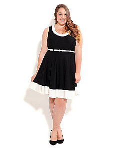Contrast Skater Dress by City Chic