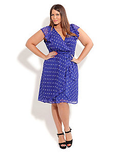 Polka Dot It Ruffles Dress by City Chic