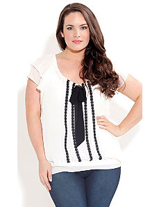 Contrast Tie Front Top by City Chic