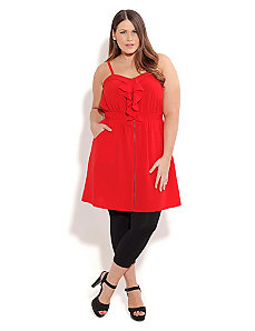 Red Ruffle Vixen Tunic by City Chic