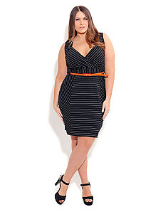 Back to Business Striped Dress w/ Belt by City Chic