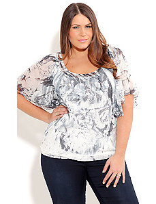 Glitter Sheer Top by City Chic