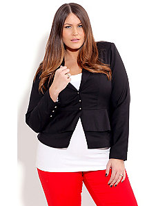 Sexy Double Frill Jacket with Belt by City Chic