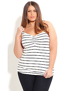 Striped Gathered Front Cami by City Chic