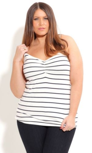Striped Gathered Front Cami