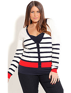 V-Neck Striped Cardigan by City Chic