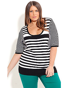 Monotone Stripe Jumper by City Chic