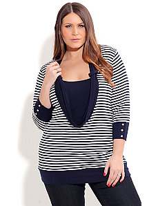 Nautical Stripe Cowl Top by City Chic