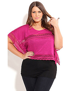 Lace Layer Capelet Top by City Chic