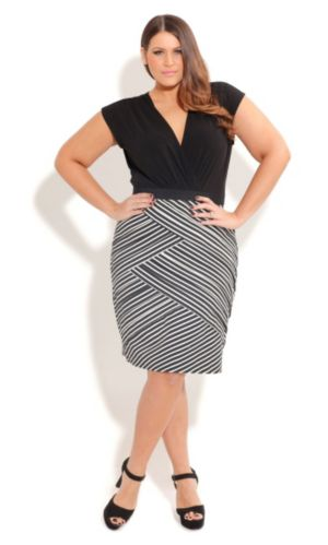 Splice Stripe Skirt Dress