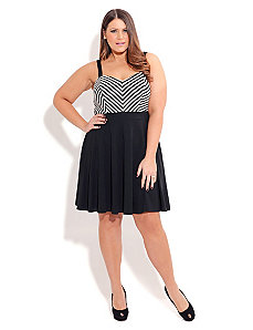 ZIG ZAG SKATER DRESS by City Chic