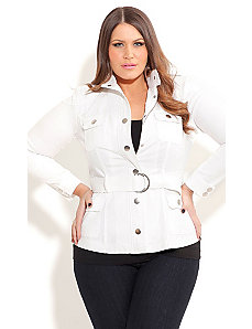 Pure Utility Jacket with Belt by City Chic