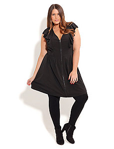 Ruffled Black Tunic by City Chic