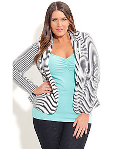 Stripe Blazer with Brooch by City Chic