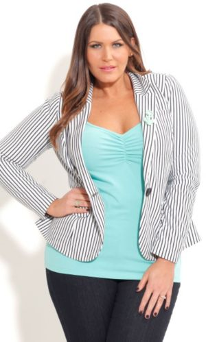 Stripe Blazer with Brooch
